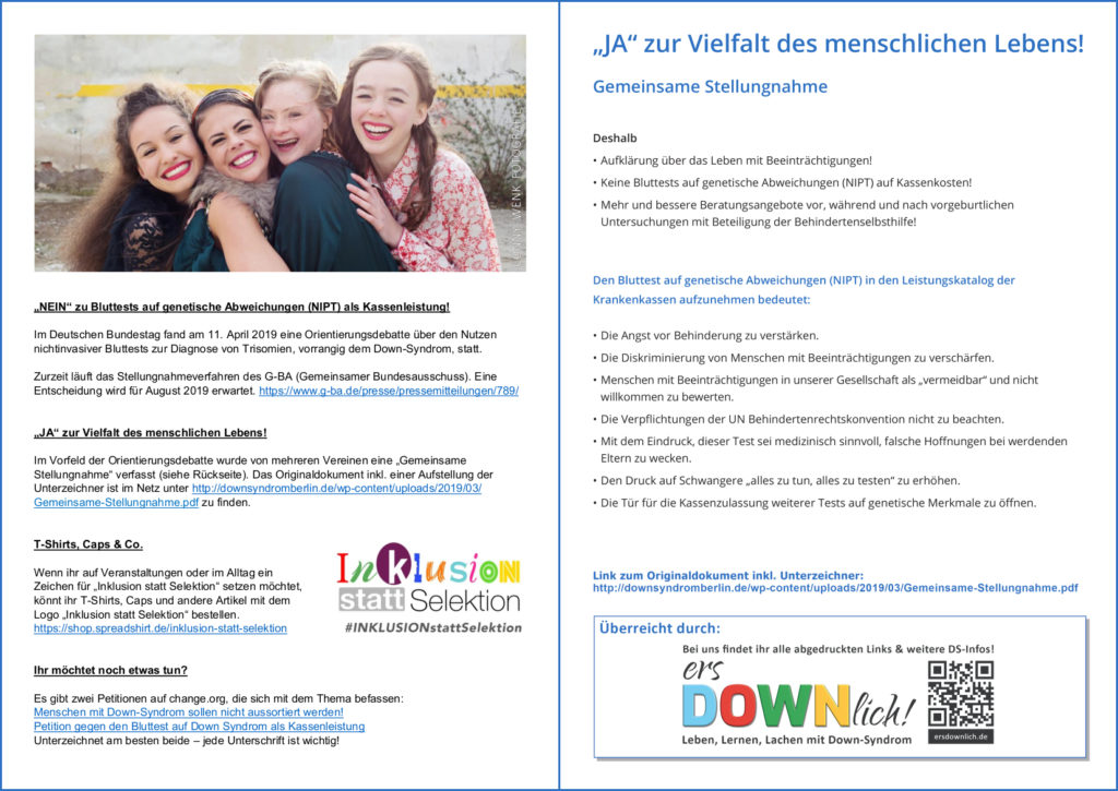 Preview Flyer Inklusion statt Selektion